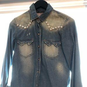 Zara jeans button Down for woman size M